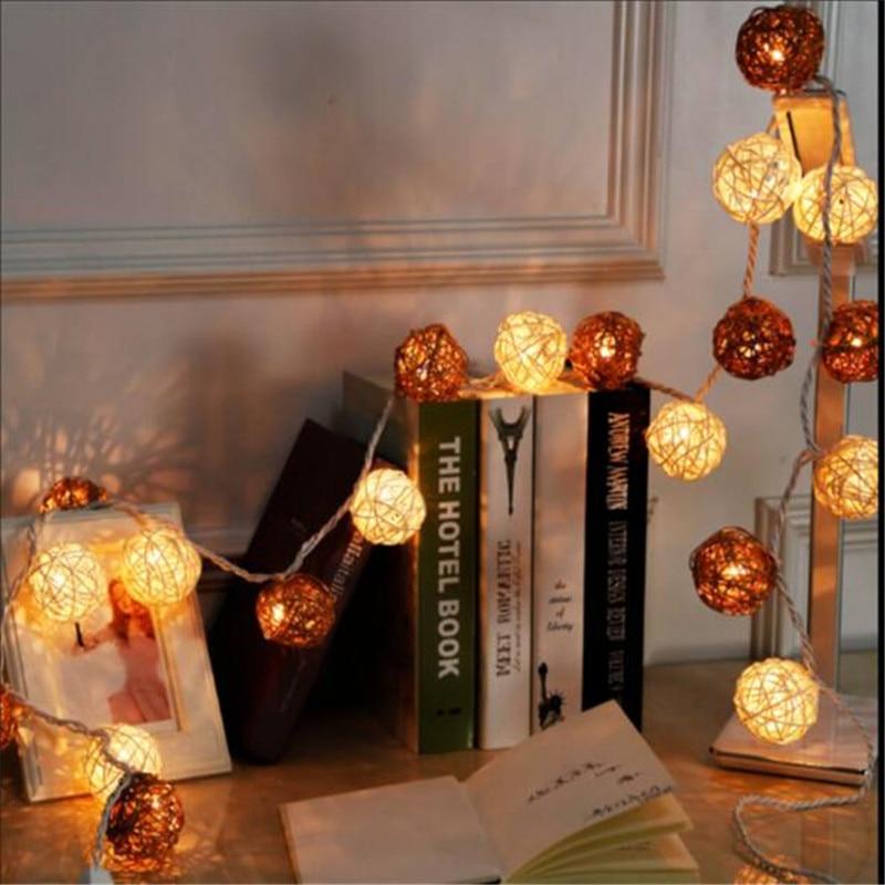 EU US plug 4M 20 LED String Fairy lights 4cm Mixed White Brown Rattan Ball for Christmas Home Party Wedding Decorative Lighting