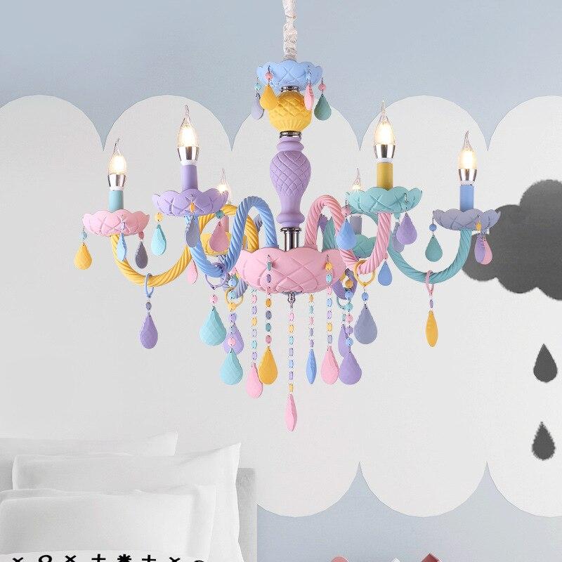 Lustre en cristal Macaron couleur lampe de chambre d'enfants lampe créative fantaisie fille princesse Luminaire suspendu luminaires