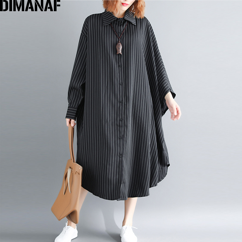 DIMANAF Women Blouse Shirt Batwing Sleeve Long Cardigan Autumn Femme Big Size Striped Loose Casual Lady Large Clothing 100KG Fit
