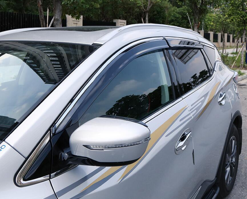 4pcs Chrome Window Visor Deflector Rain Shield For Nissan Murano 2016  2017-in Awnings   Shelters from Automobiles   Motorcycles on Aliexpress.com   21a1a8c0f25