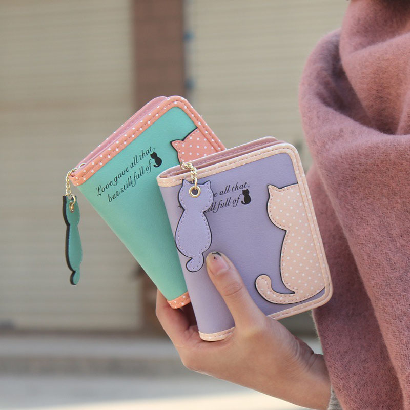 Fashion Small Wallet Women Short Luxury Brand Cute Female Purse PU Leather Cat Design Girls Lady Zipper Wallets Card Holder Bags 13