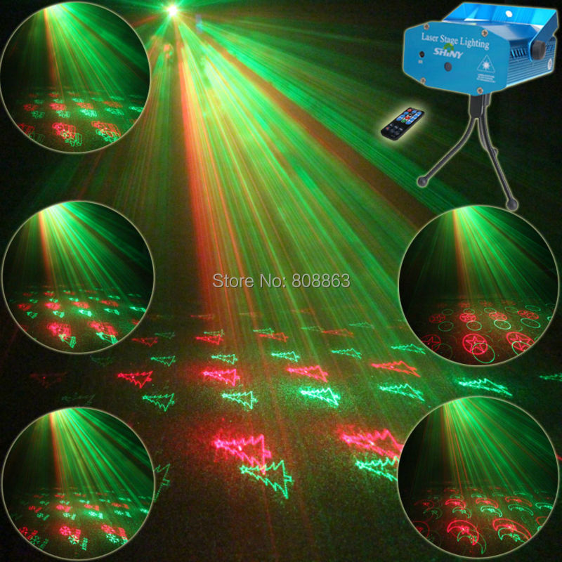 Mini R&G Remote 20 Christmas Pattern Laser Projector Club Bar Coffee Shop Dance Disco Ho ...