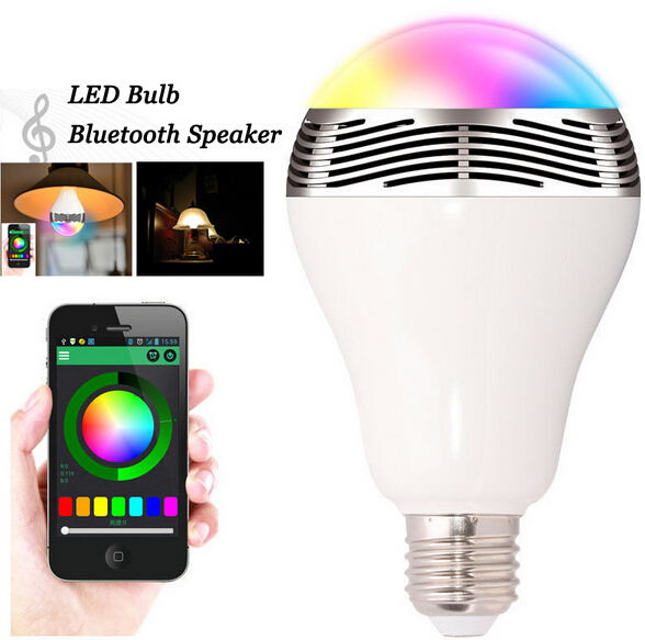 6 W LED ampoule intelligente E27 Bluetooth haut-parleur Portable sans fil musique intelligente colorée RGB bulle boule lampe pour iPhone Samsung