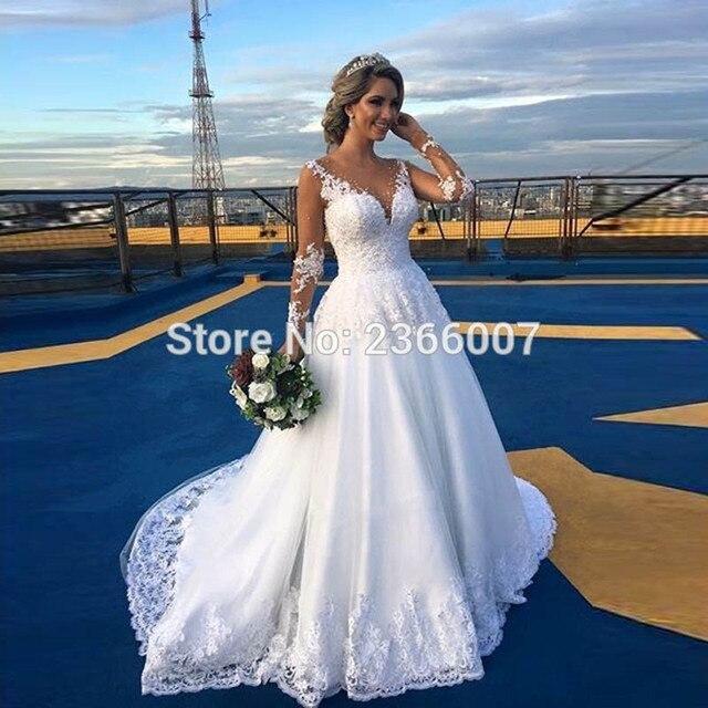 Vestidos De Noiva Illusion Nude Tulle Wedding Dresses 2019 Long Sleeves Ball Gown Bride Dress Custom Made Sexy Wedding Dress