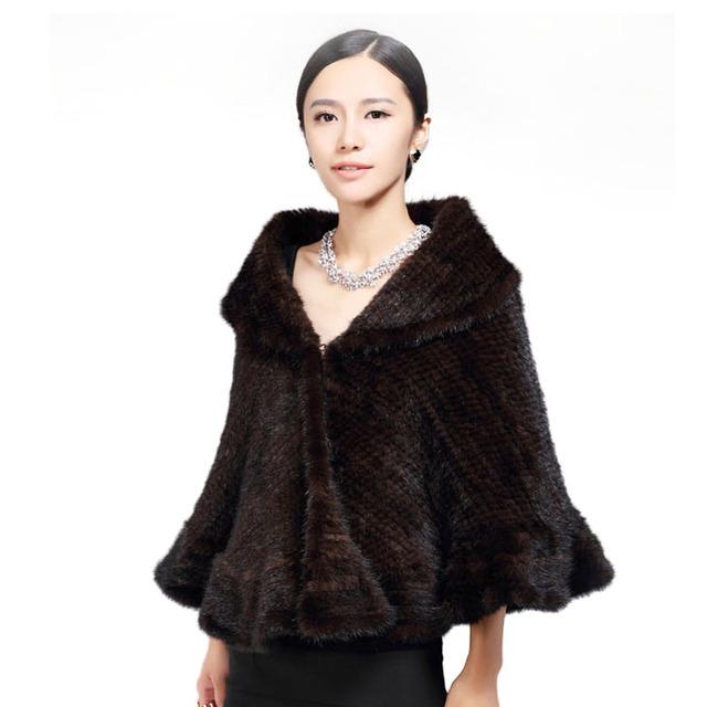 Genuino Punto de Visón Mantón/Abrigo/Cape lindo/Mujeres espesar abrigo de piel de visón gran tamaño de la señora de lujo tejer chal de piel de visón
