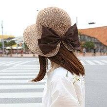 Korea Fashion Bow Straw boater panama Hat Sun Hat You Ma'am On Vacation Sunscreen Summer Sun Hat Woman Sandy Beach Hat chapeus