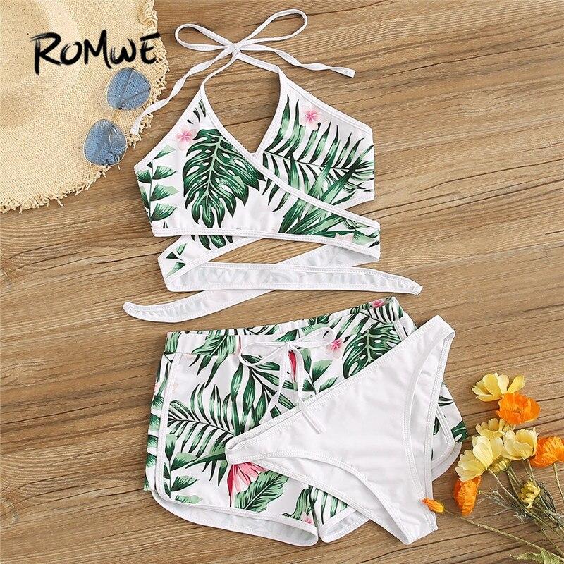 Romwe Sport Halter Bikini Set Summer Random Tropical Cross Wrap 3 Piece Swimsuit Women Beach Bathing Suits Ladies Swimwear