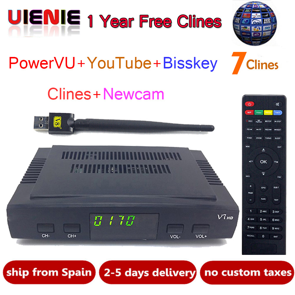 Satellite TV Receiver decoder V7 HD DVB-S2 + USB Wfi with 1 Year 7 lines server Europe C-line account support powervu Receptor