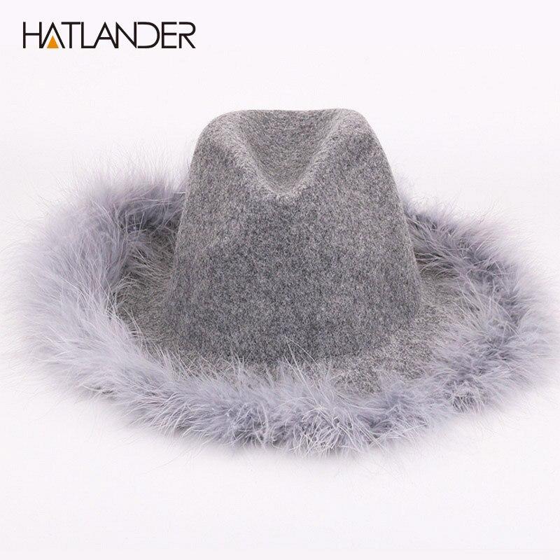 HATLANDER Wide brim floppy 100 wool hats for women fedoras solid cashmere Jazz cap ostrich