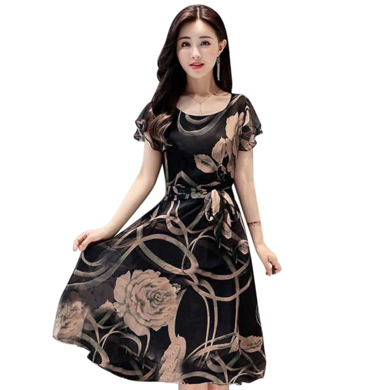 1 Pcs Women Short Sleeve Round Collar Printing Fashion Dress for Summer Party -MX8