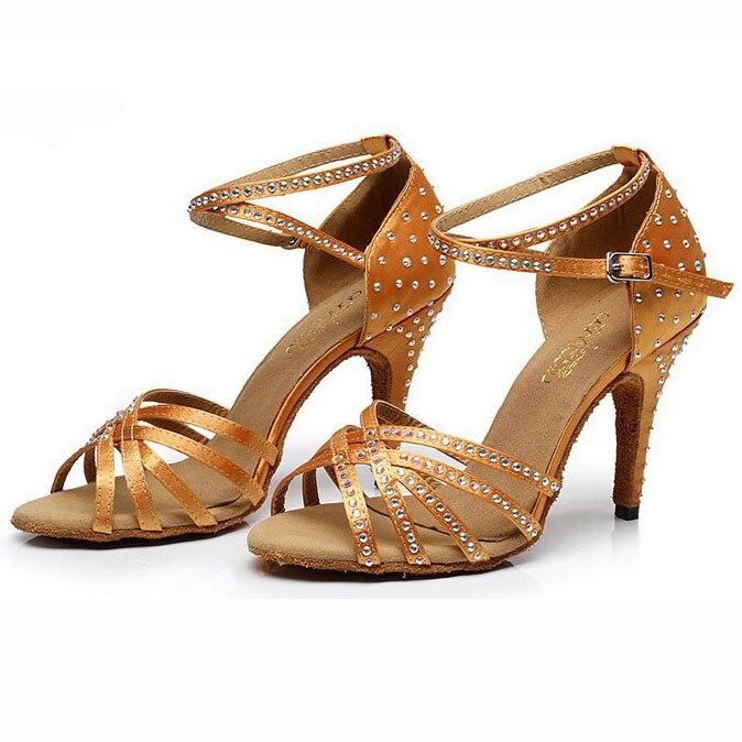 Woman Latin Dance Shoes Salsa Shoes Ladies Ballroom Dancing Shoes Orange Purple White Black Satin Big Size Customized Heels