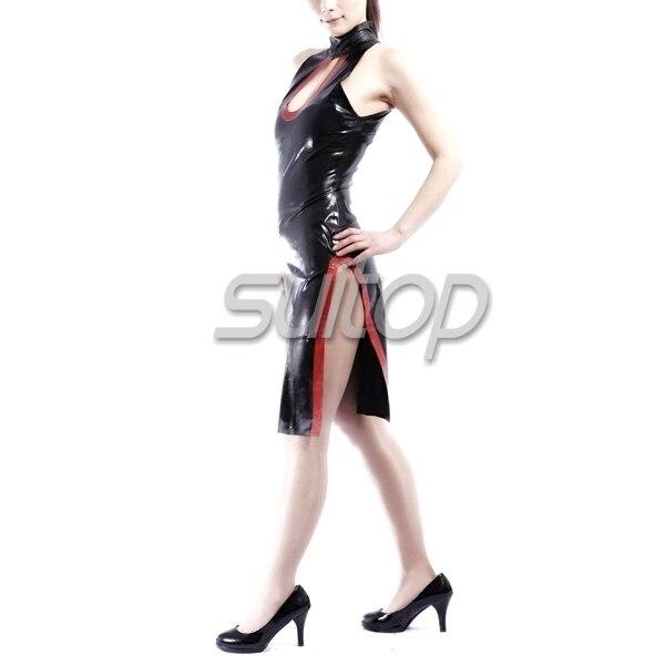 Latex caoutchouc serré cheongsam robe couleur noire sexy club gaine robes manches courtes cheongsam Style chinois