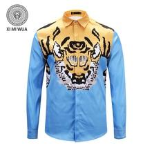 2018 Otoño Invierno nueva moda llegada impresión del tigre para los hombres  marca ropa de algodón de manga larga a1111ccf8ac