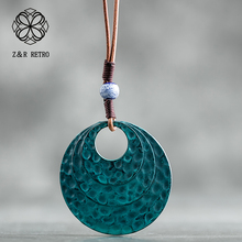 2018 Fashion Long Necklaces for Men/ Women Vintage Alloy Coin Necklace Bohemia Style DIY Rope Chain Blue Moon Pendant Necklaces