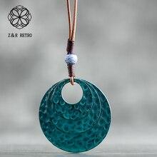 2018 Fashion Long Necklaces for Men/ Women Vintage Alloy Coin Necklace Bohemia Style DIY Rope Chain Blue Moon Pendant Necklaces