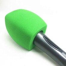 يغطي Linhuipad الأخضر مقابلة ميكروفون الزجاج الأمامي يده ميكروفون الزجاج الأمامي لمحطة البث التلفزيوني فيديو ميكروفون من الداخل
