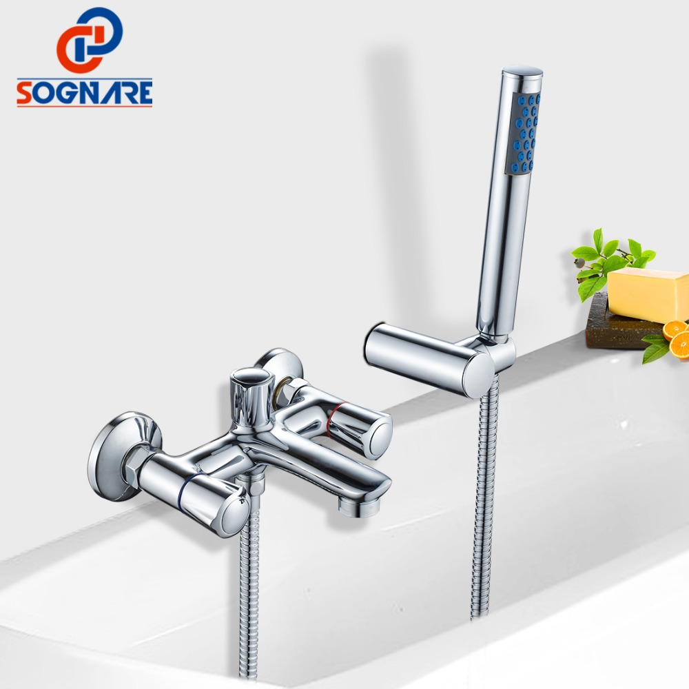 SOGNARE Wall Shower Faucets With Hand Shower Head Chrome Polished Double Handle Bathroom Shower Faucet Set Bath Faucet Tap D5206