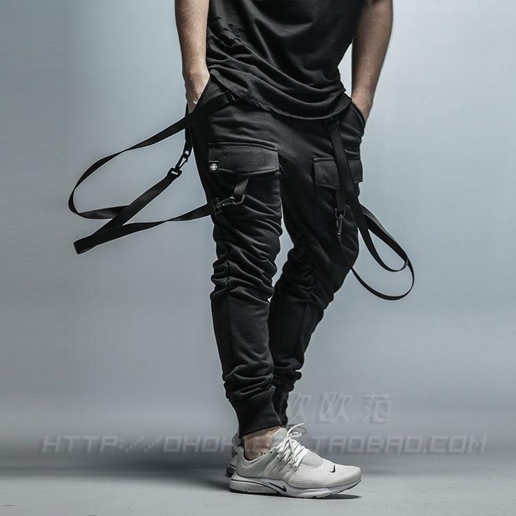 Mens Goth Pocket Harem Pants Hip Hop Cargo Trousers Sweatpants Black Casual Men Pant(China)