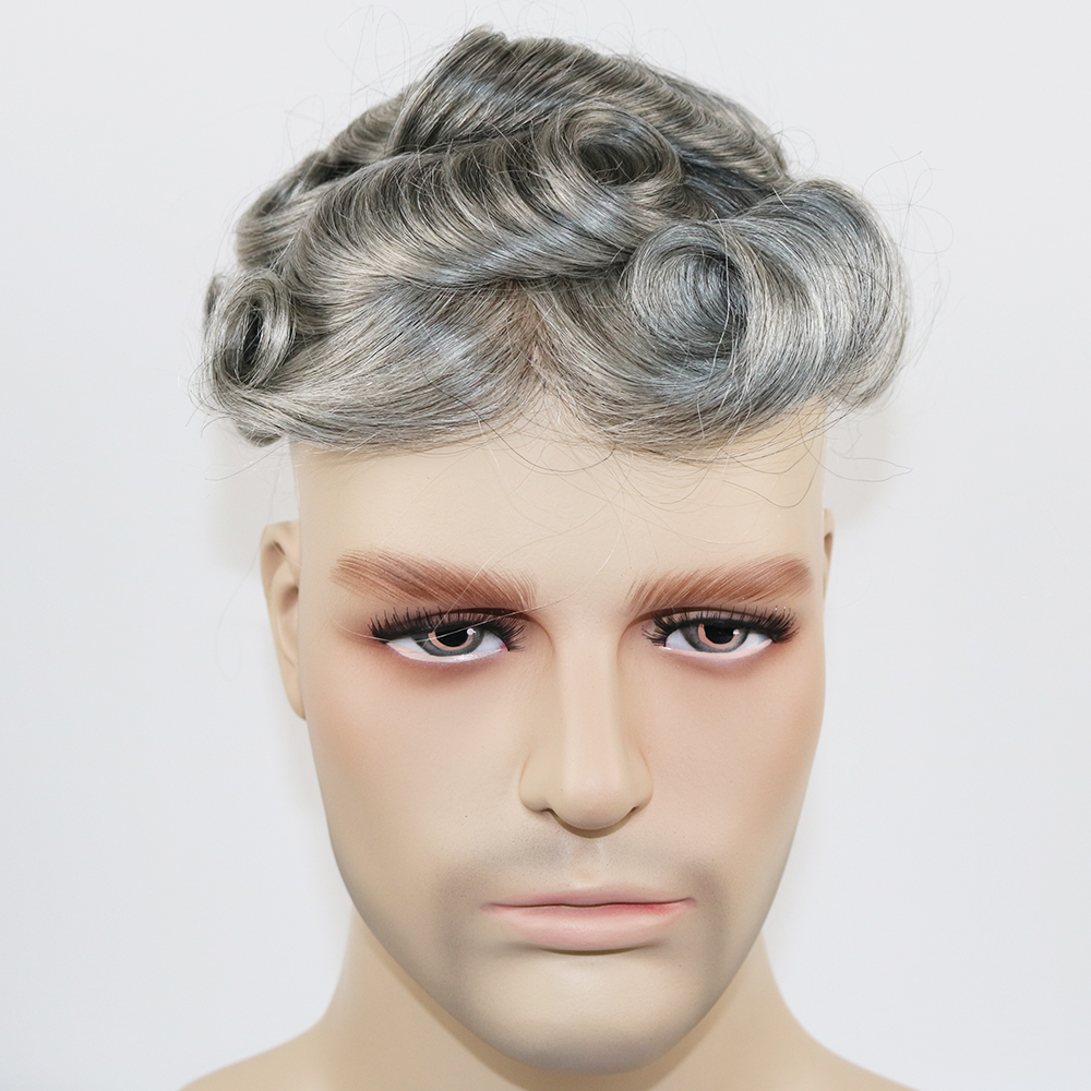 SimBeauty Durable Skin Toupee Grey Hair Men 0.12-0.14mm Skin Toupee Natural Looking Hair Clear Poly Base Human Hair Men Wigs