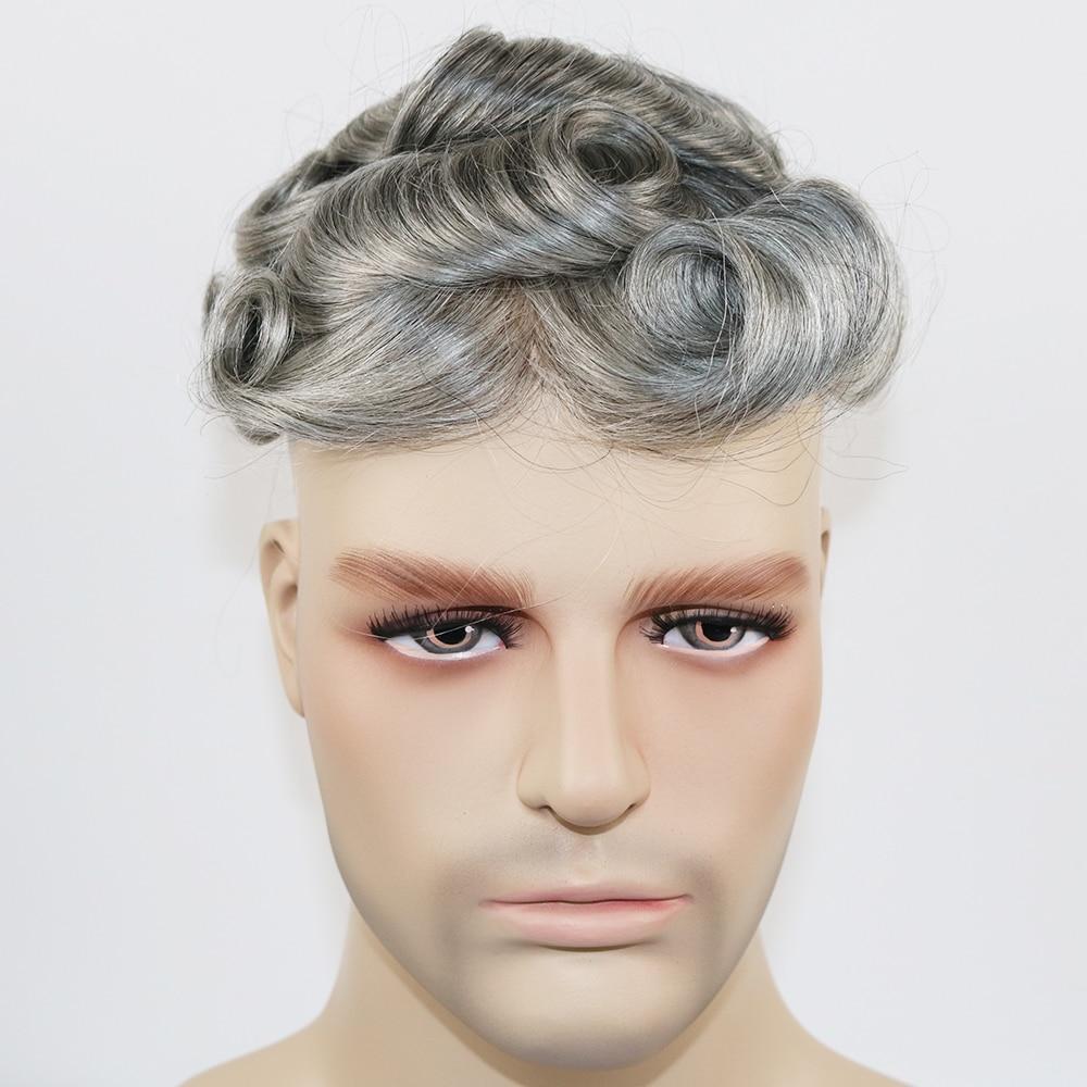 SimBeauty Durable Skin Toupee Grey Hair Men 0.12-0.14mm Skin Toupee Natural Looking Hair Clear Poly Base Human Hair Men Wigs