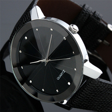 Sport Watch Men Women Stainless Steel Dial Leather Band Wrist