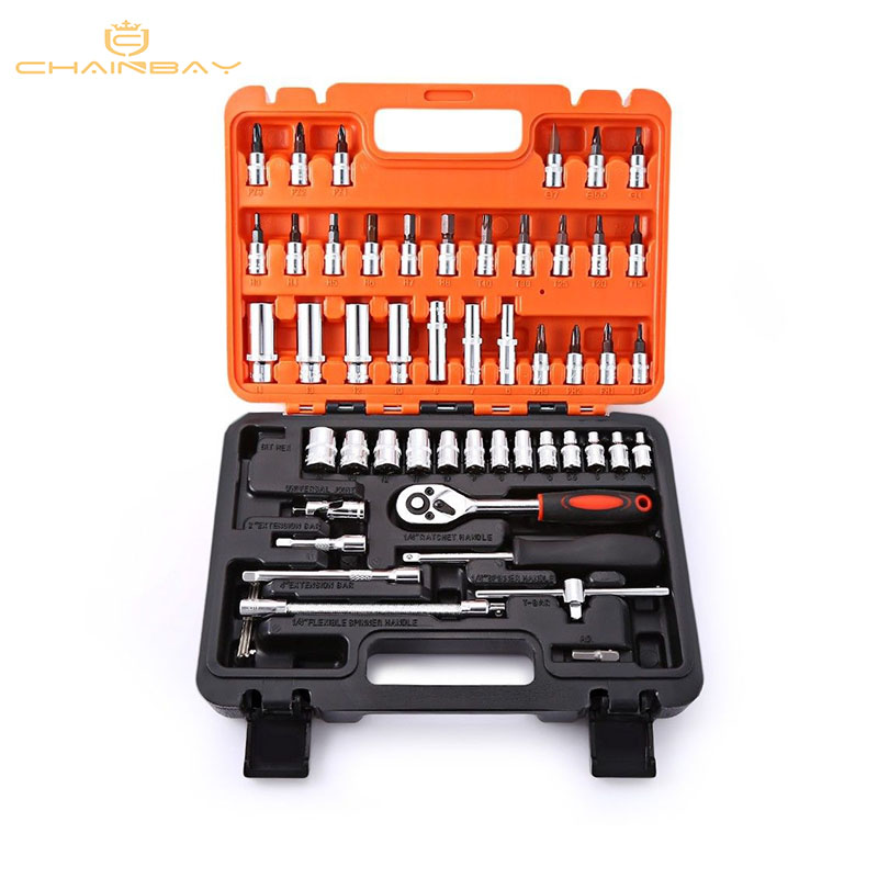 53pcs Automobile Motorcycle Car Repair Tool Box Precision Ratchet Wrench Set Sleeve Universal Joint Hardware Tool
