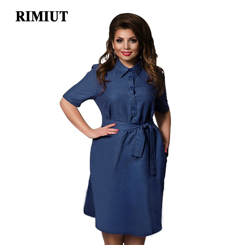 Detail Feedback Questions about RIMIUT Fashion Plus Size 6XL Women Autumn  Denim dress Loose Sashes Office Work Wear Female Fat MM Knee Length Dresses  on ... dee283d784ef