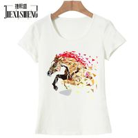 New Fashion Funny Inflatable Horse Costume Printed T Shirt Women Hipster Cotton O Neck Cool Tee