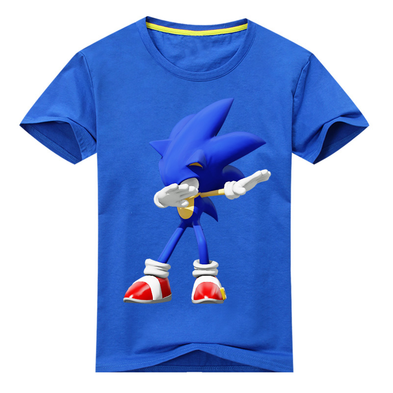 Boys Casual Cartoon Tees Tops Costume Girls Sonic Game T-shirt Clothes Children Dab T Shirt Clothing Kids Summer Tshirt DX137 стоимость