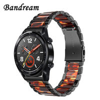 Stainless Steel & Resin Watchband for Huawei Watch GT / Honor Magic TicWatch Pro/E2/S2 Quick Release Band Wrist Strap Bracelet
