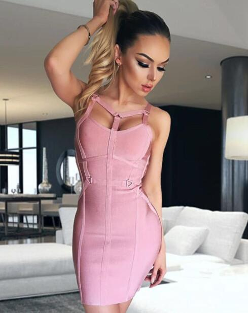 2018 new Women summer sexy fashion dusty pink cut out rayon Bandage Dresses  Designer Celebrity Party c85a6845c18b