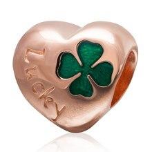 Auténtica plata de ley 925 corazón trébol de cuatro hojas granos con oro rosa Plate Fit Pandora charms pulseras de la joyería DIY