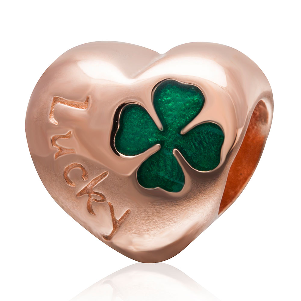 Authentic 925 sterling silver Heart Four Leaf Clover Beads With Rose Gold Plate Fit Pandora charms bracelets DIY Jewelry