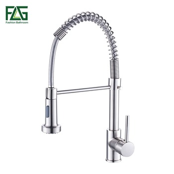 FLG Spring Style Kitchen Faucet Brushed Nickel Sink Faucet Pull Out Torneira All Around Swivel 2-Function Water Outlet Mixer Tap 1