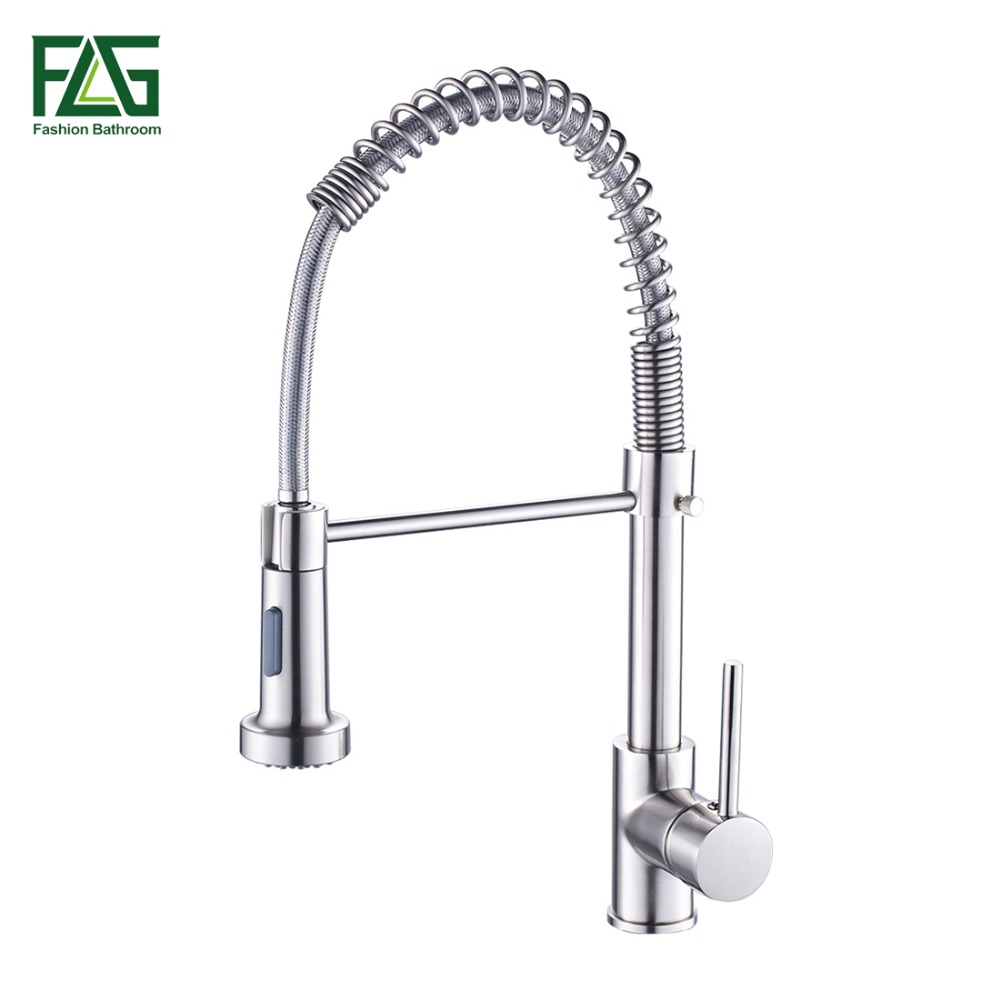 FLG Spring Style Kitchen Faucet Brushed Nickel Sink Faucet Pull Out Torneira All Around Swivel 2-Function Water Outlet Mixer Tap