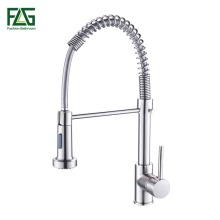 Spring Style Kitchen Faucet Brushed Nickel Faucet Pull Out Torneira All Around Rotate Swivel 2-Function Water Outlet Tap FLG8795 free shipping kitchen faucets with plumbing hose all around rotate swivel 2 function water outlet mixer tap faucet kitchen tap