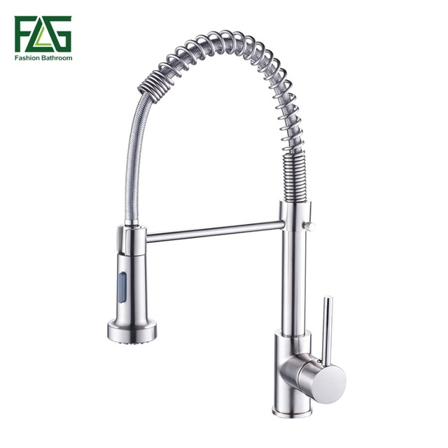 Spring Style Kitchen Faucet Brushed Nickel Faucet Pull Out Torneira ...