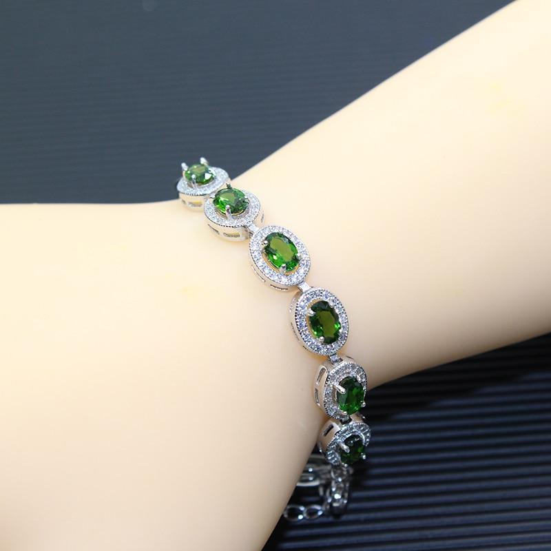 Clic Chrome Diopside Bracelet 15 Pcs Natural Vvs Gemstone Solid 925 Sterling Silver Diospide Gift In Bracelets Bangles From