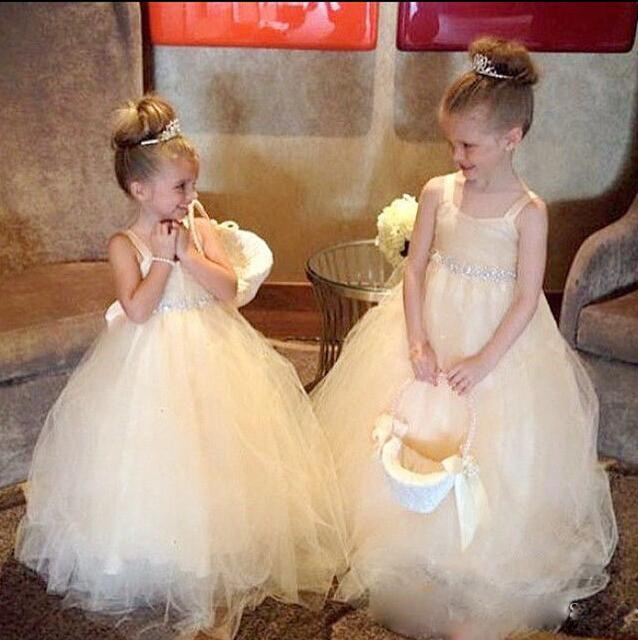 2d8dd130540 Church Wedding Champagne Flower Girl Dress with Shiny Beading Crystals Ball  Gown Floor Length Long Back Knot Bow Girls Dress