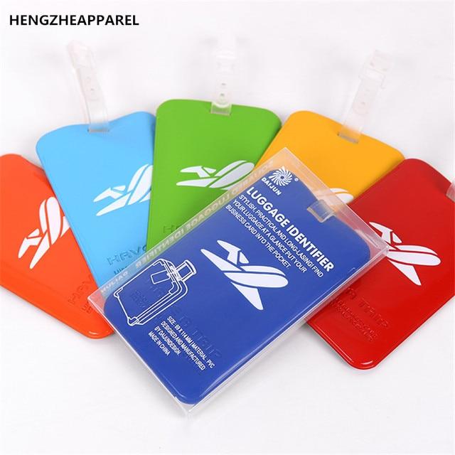 Mini Plastic Airplane Luggage Tag Creative Suitcase Pvc Travel Label Address Id Bag Tags Portable Smart