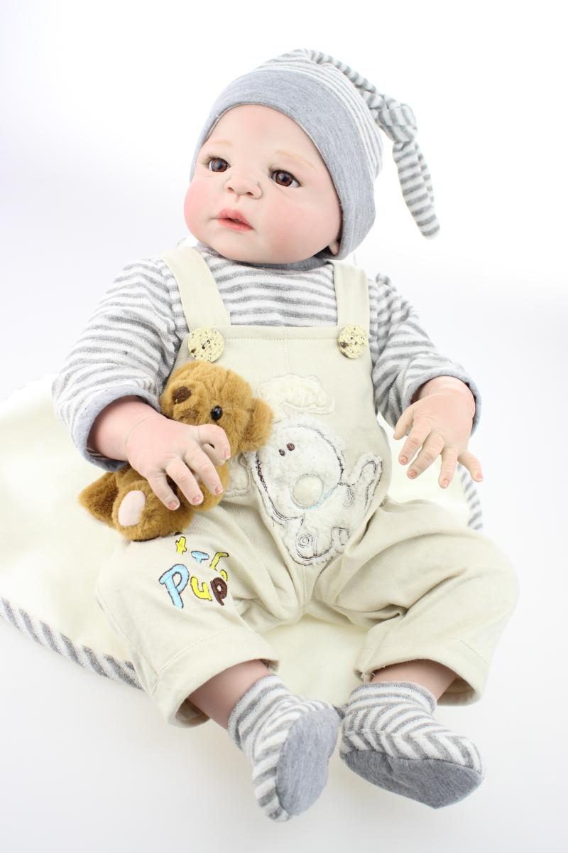 22 Anatomically Correct Doll Full Vinyl Reborn Boy Dolls for Kids as Gift with Magnet Pacifier