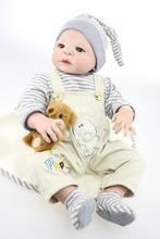 22″ Anatomically Correct Doll Full Vinyl Reborn Boy Dolls for Kids as Gift with Magnet Pacifier Baby Doll