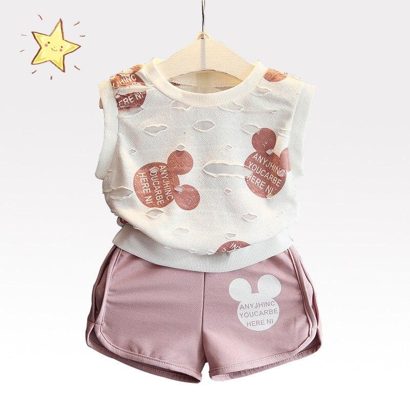 Комплекты одежды для девочек 2017 Комплекты модной летней детской одежды прекрасный Минни Микки футболка с принтом + короткие 2 шт. Одежда для ... ...
