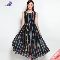 Hight Quality 2017 Summer Runway Maxi Dress Women S Sleeveless Cute Star Print Cystal Beading Big