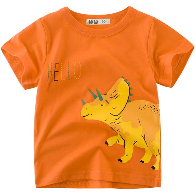 Boys T-Shirts Cute Fun Triceratops Girls Tops Summer 2018 Kids Clothes 100% Cotton Children Short Sleeve Tshirts Baby Shirts