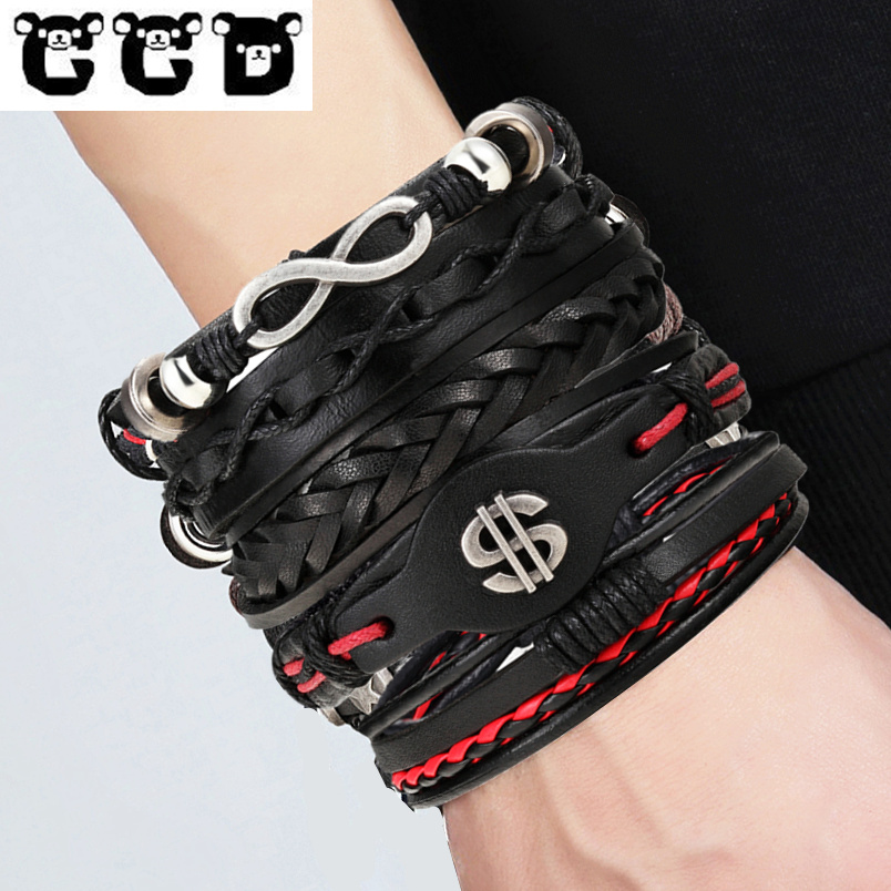 CCD Brand 5PCS/Set Leather Charm Bracelets Men