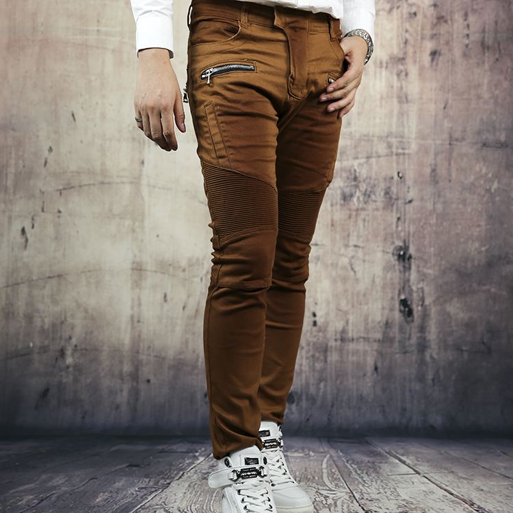 Autumn   jeans   male nostalgic vintage brown elastic slim skinny   jeans