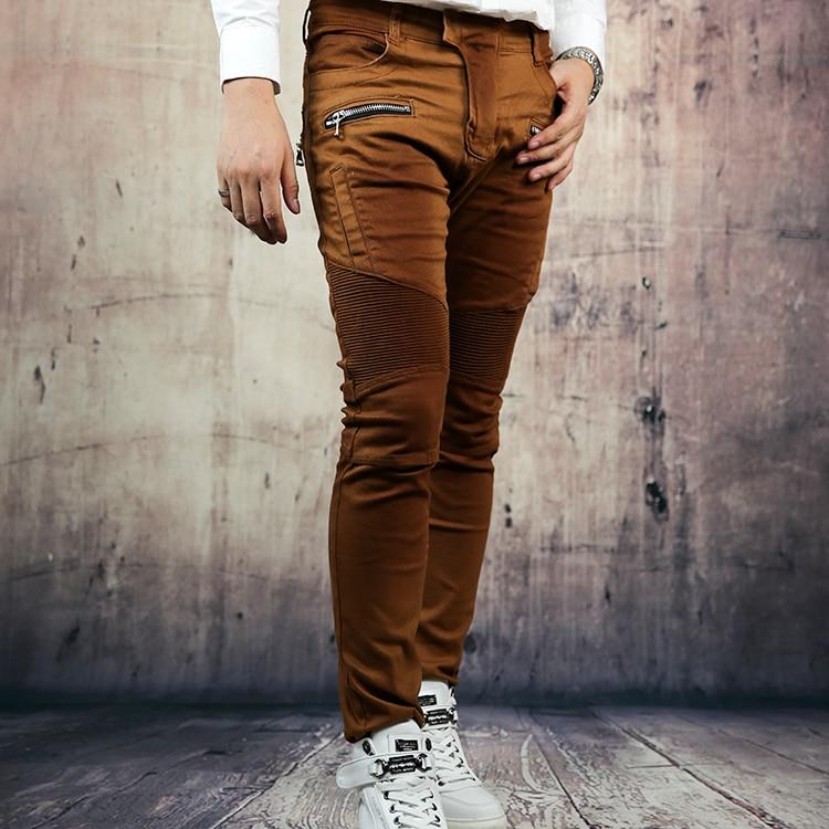 Autumn jeans male nostalgic vintage brown elastic slim skinny jeans colorful jeans male slim print elastic skinny pants trousers trend pattern male jeans