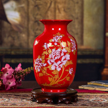 Artificial Peony Ceramic Vase Auspicious Element Symbol Chinese ceramic vase Red wedding decoration home