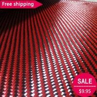 Бесплатная доставка Красный кевлар и 3 K углеродного волокна смешанная ткань 12